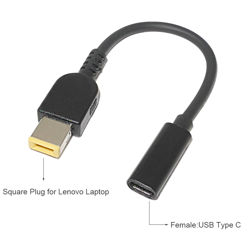 Laptop Power Supply Adapter Cable USB Type-C Female To Square Tip Male Plug Converter For Lenovo Thinkpad USB C Cable Cord