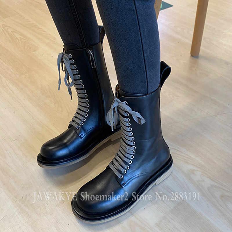Yeni hakiki deri Lace Up çizmeler yüksek kaliteli yuvarlak ayak düz ayakkabı kadınlar sıcak savaş kısa çizmeler basit açık rahat ayakkabılar