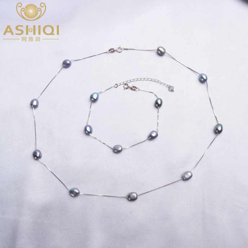 Ashiqiバロックナチュラルパールネックレスブレスレット 925 スターリングシルバージュエリーセット 6-7 ミリメートル淡水真珠女性のための