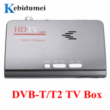 Kebidumei EU naziemnej telewizji cyfrowej, HDMI 1080P DVB T/T2 TV Box VGA + HDMI + AV CVBS tuner odbiornik + pilot zdalnego sterowania