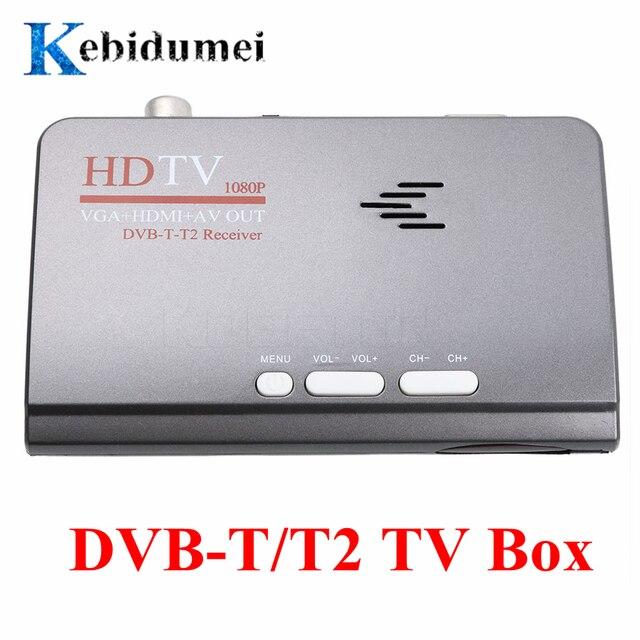 kebidumei EU Digital Terrestrial HDMI 1080P DVB T/T2 TV Box VGA +HDMI+AV CVBS Tuner Receiver +Remote Control