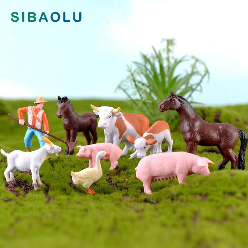 DIY Farmland Worker Pig Horse Duck Cow Sheep Animal Model Figurine Goat Home Decor Miniature Fairy Garden Decoration Accessories