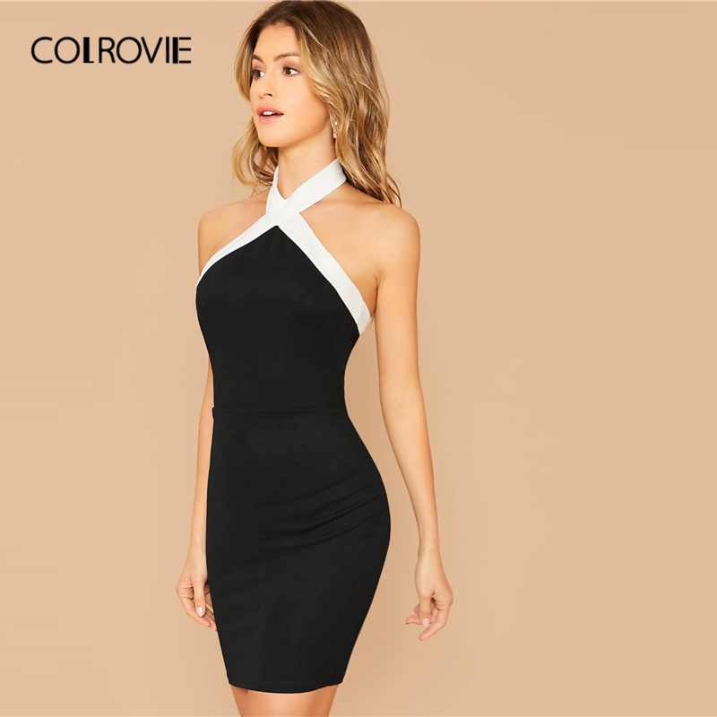 COLROVIE Black Contrast Halterneck Bodycon Dress Women Sleeveless Sexy Backless Mini Dress 2020 Slim Elegant Pencil Dresses 3