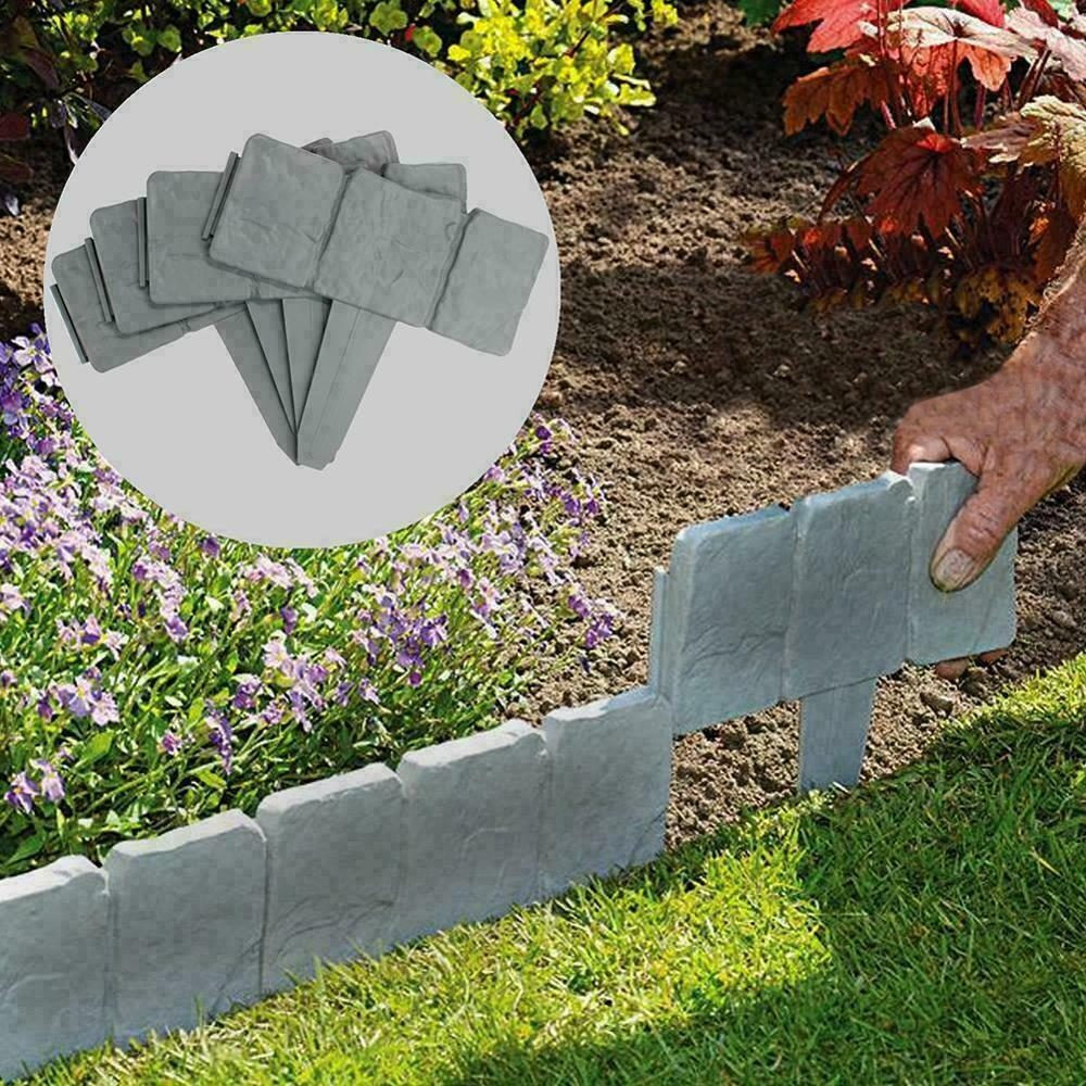 5m 16ft Grey Stone Effect Garden Lawn Cobbled Grass Edging Plant Flower Bed Fence Border Garden bed Decorations