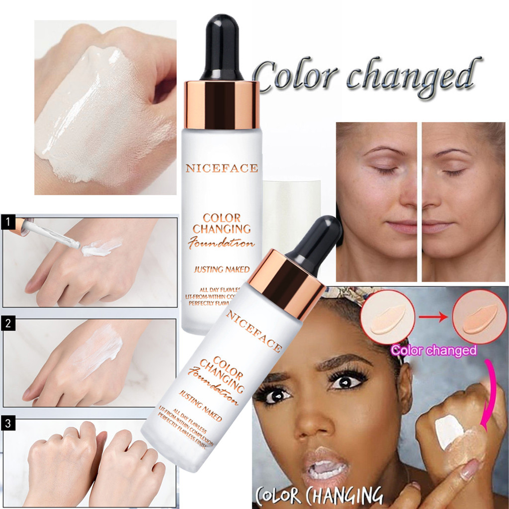 Temperature Color Changing Liquid Foundation Makeup Brightening Concealer Makeup Change To Your Skin Tone By Just Blending