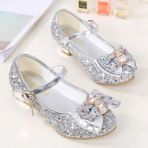 Image 5 - Çocuk prenses ayakkabı kızlar için sandalet yüksek topuk Glitter Rhinestone Enfants Fille kadın parti elbise ayakkabı çocuk ayakkabı kızlar