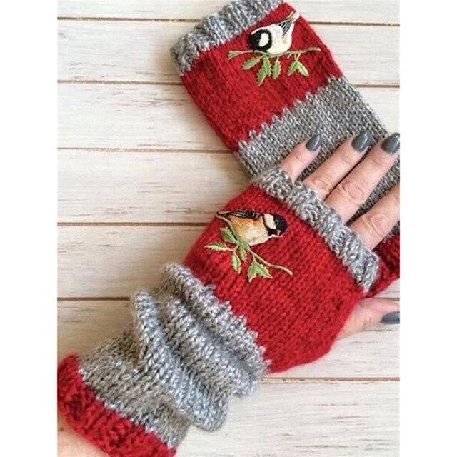 Women Stylish Hand Warmer Winter Gloves Arm Crochet Knitting Faux Wool Flowers Mitten Warm Fingerless Glove Gants Femme #W3 4