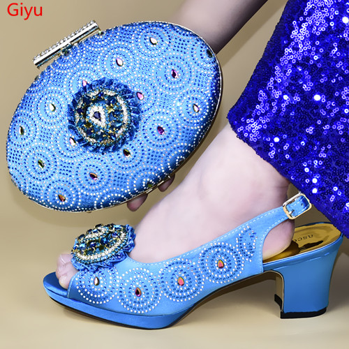 doershow New Arrival African Wedding Shoes and Bag Set sky blue Italian Shoes with