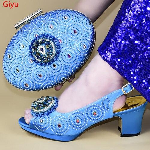 Doershow nouveauté chaussures de mariage africaines et sac ensemble bleu ciel chaussures italiennes avec des sacs assortis nigérian femmes fête! HXD1-14
