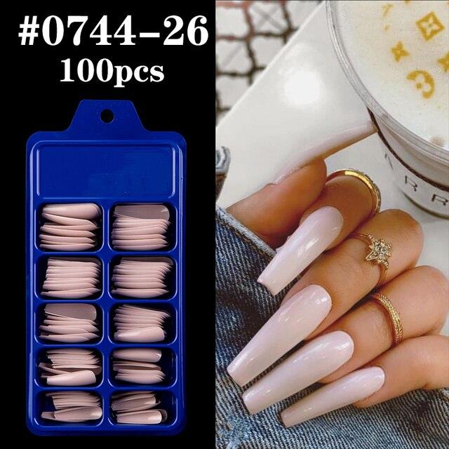 Фото 100 шт акриловые накладные ногти овальные профессиональные накладные