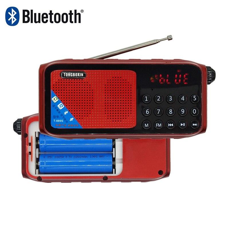 T-889S Portable Bluetooth Speaker Digital FM Radio TF USB Player Sound Recording Clock Headphon Function Support 2 18650 Battery