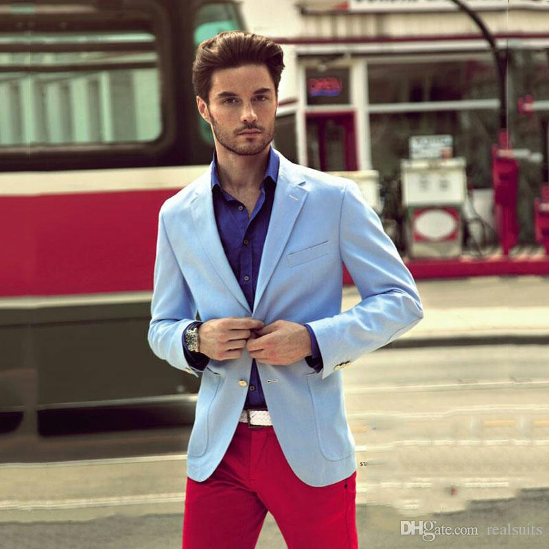 Man Wedding Suits Blazer Groom Tuxedos Prom Party Costume Homme 2Piece (Blue Jacket With Two Buttons+Red Trousers)