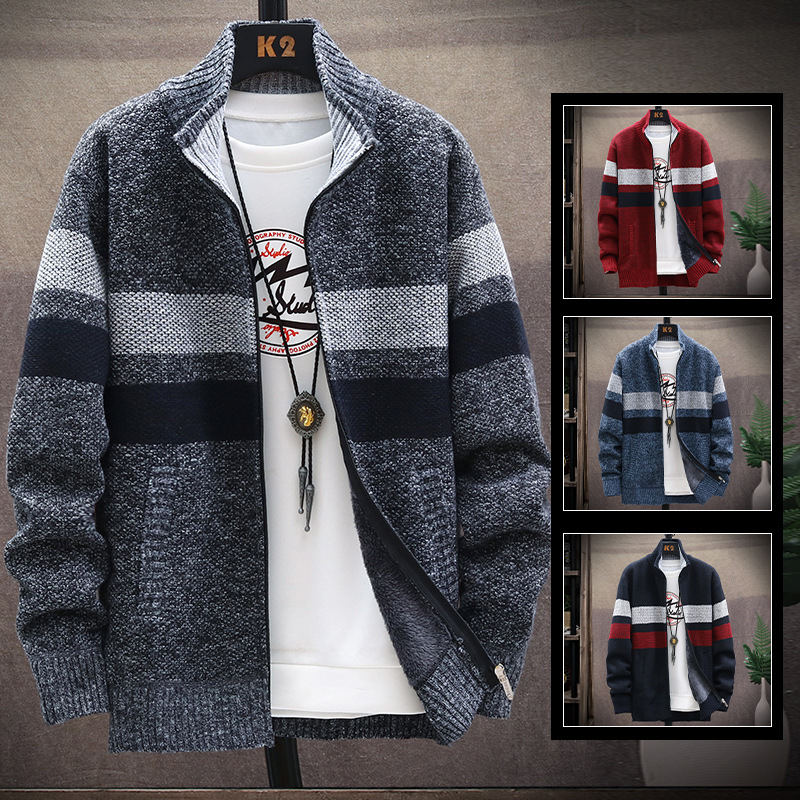 Cross Border 2020 New Style Jacket Men Autumn & Winter Brushed and Thick Knitted Cardigan Men'S Wear Fashion Sweater Coat Fashio