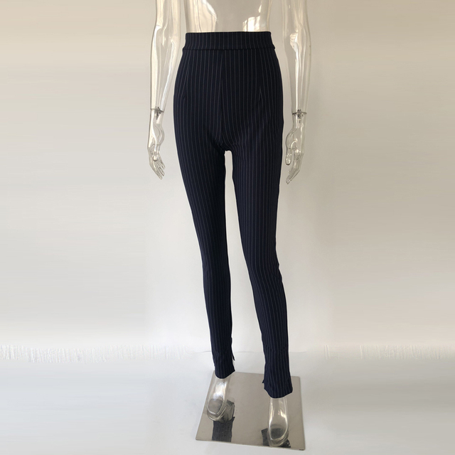 KGFIGU Office pants For women 2020 High waist striped trousers women Side split OL style Skinny long Bottom Have stretchy White 35