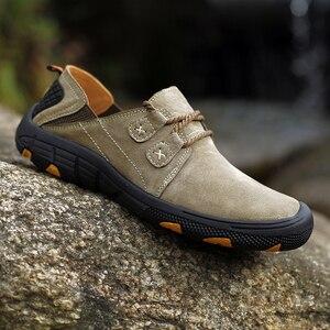 Image 1 - QZHSMY גברים של עור נעליים יומיומיות זכר מגפי לנשימה קשה ללבוש אביב סתיו סניקרס שטוח אור נעלי גדול גודל 38 48