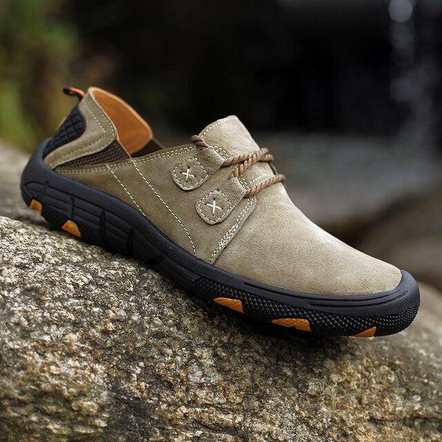 QZHSMY גברים של עור נעליים יומיומיות זכר מגפי לנשימה קשה ללבוש אביב סתיו סניקרס שטוח אור נעלי גדול גודל 38 48