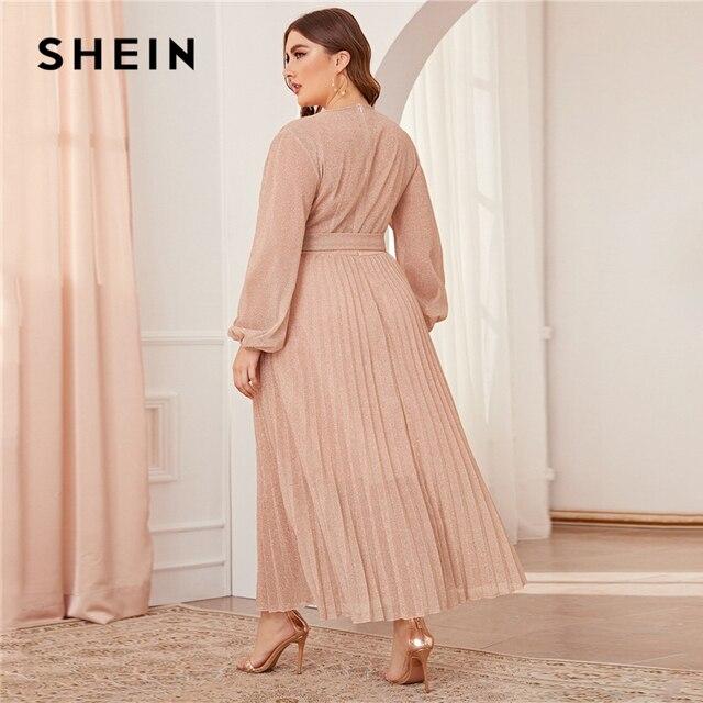 SHEIN Plus Size Surplice Neck Lantern Sleeve Pleated Glitter Maxi Dress Women Autumn High Waist Wrap Glamorous Party Dresses 3