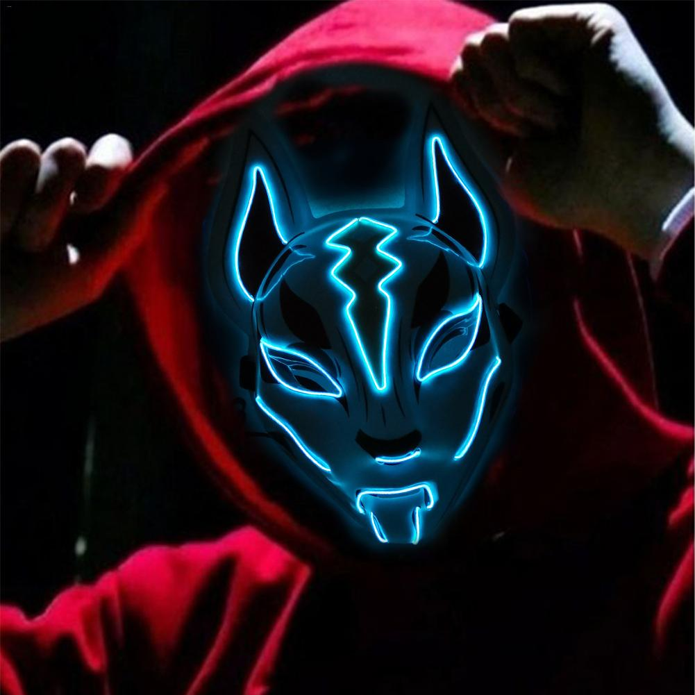 10 Color Fox Full Face Mask Neon Lights Halloween Party Led Lampshade Dark Glowing Cosplay Mask Party Costume Mask
