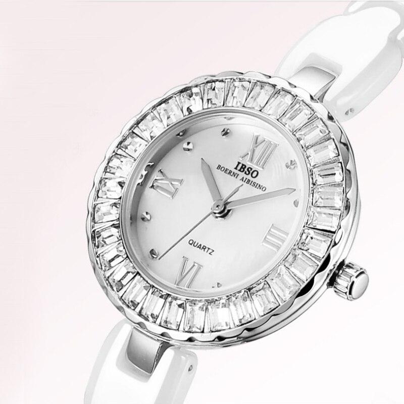 IBSO 2020 Women Watches Fashion Shell Dial Ceramic Strap Quartz Wristwatches Women Luxury Crystal Watches Women Ladies Watches