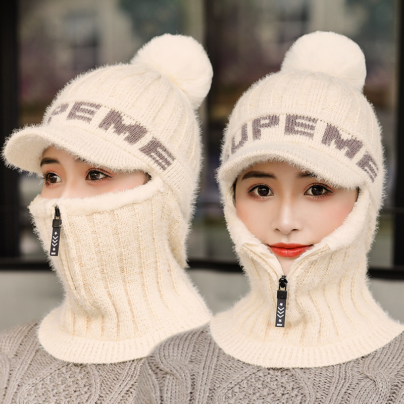 Women   Skullies     Beanies   Winter Ear Protect Korean Youth Winter Warm Wool Soft Knitted Fur Hat Female Hood Cap Plush Velvet Tuque