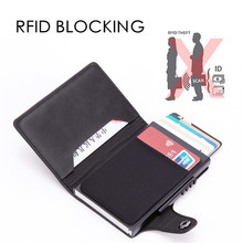 New Anti Theft Card Holder Fashion Metal Credit Card Holder RFID Blocking Aluminium Card Case PU Leather Travel Card Wallet цена и фото