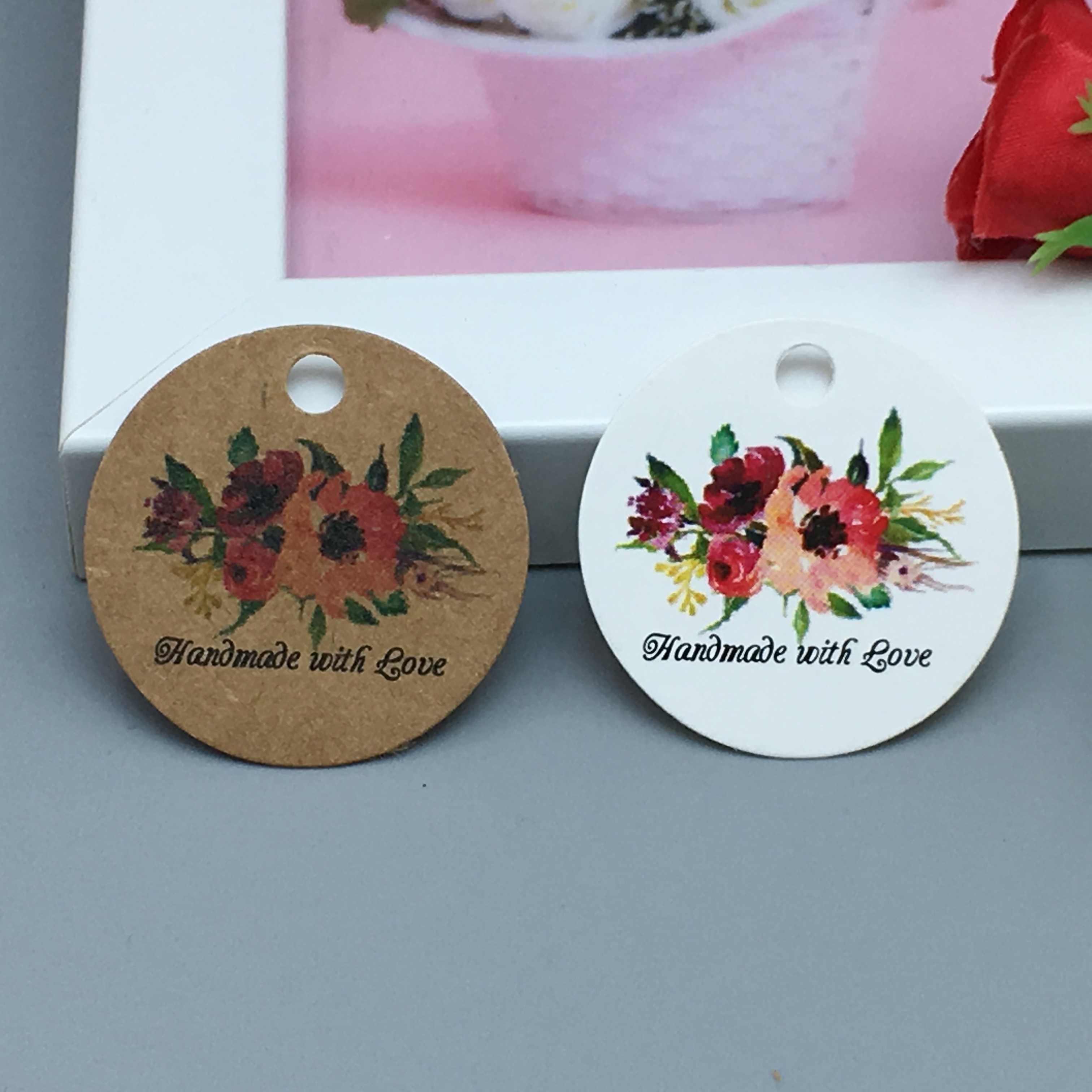 50 unids/lote 3cm gracias con corazón rojo hecho a mano etiquetas de regalo kraft para tarta de cumpleaños boda fiesta precio etiqueta colgante