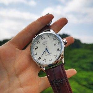 Image 5 - Мужские автоматические механические наручные часы WINNER официально деловое платье с коричневым ремешком из натуральной кожи
