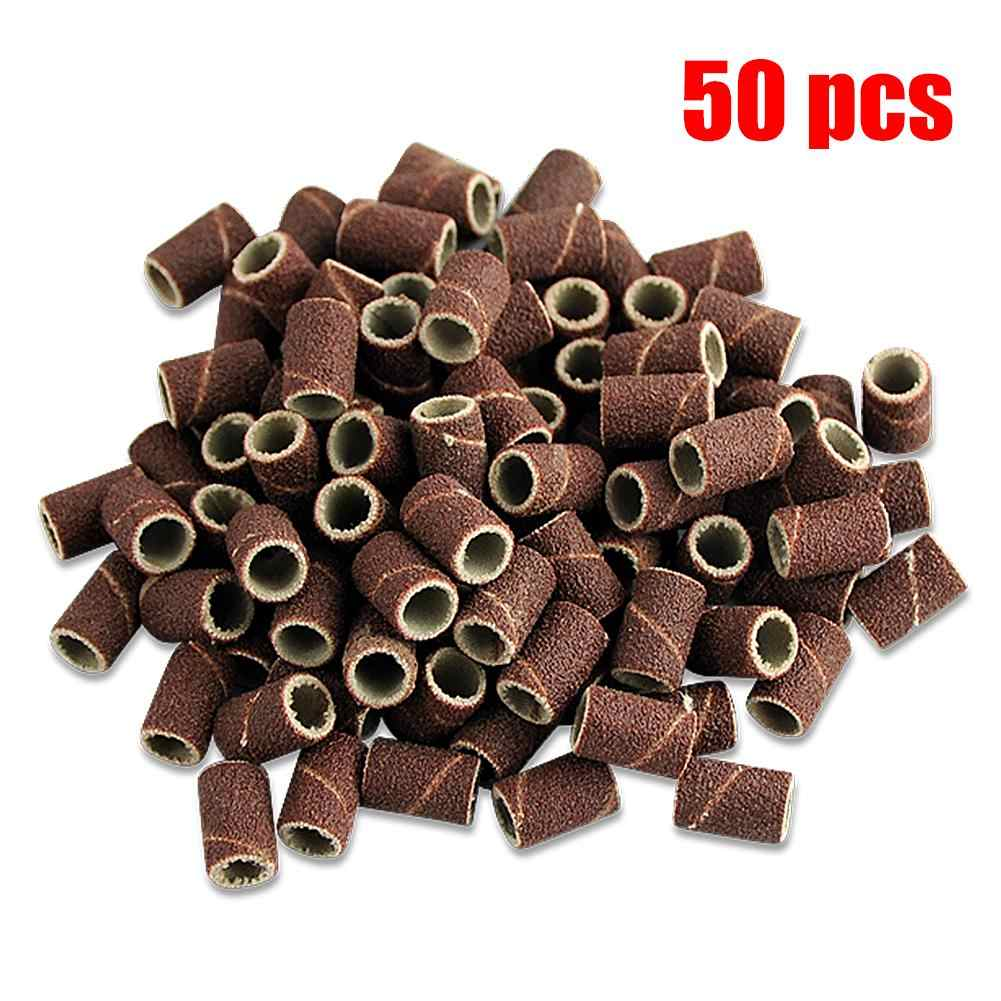 50pcs/lot Sanding Bands Sleeves Electric Polishing Sandpaper circle Sand Nail Art Drill File Salon Tips Tools Dremel Accessories