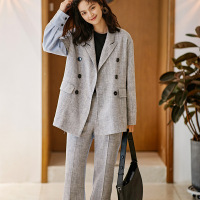 Suit Female New Best Suit 2 Piece Set Blazer Trousers High Quality Female Slim Temperament Gray Stitching Suit Set