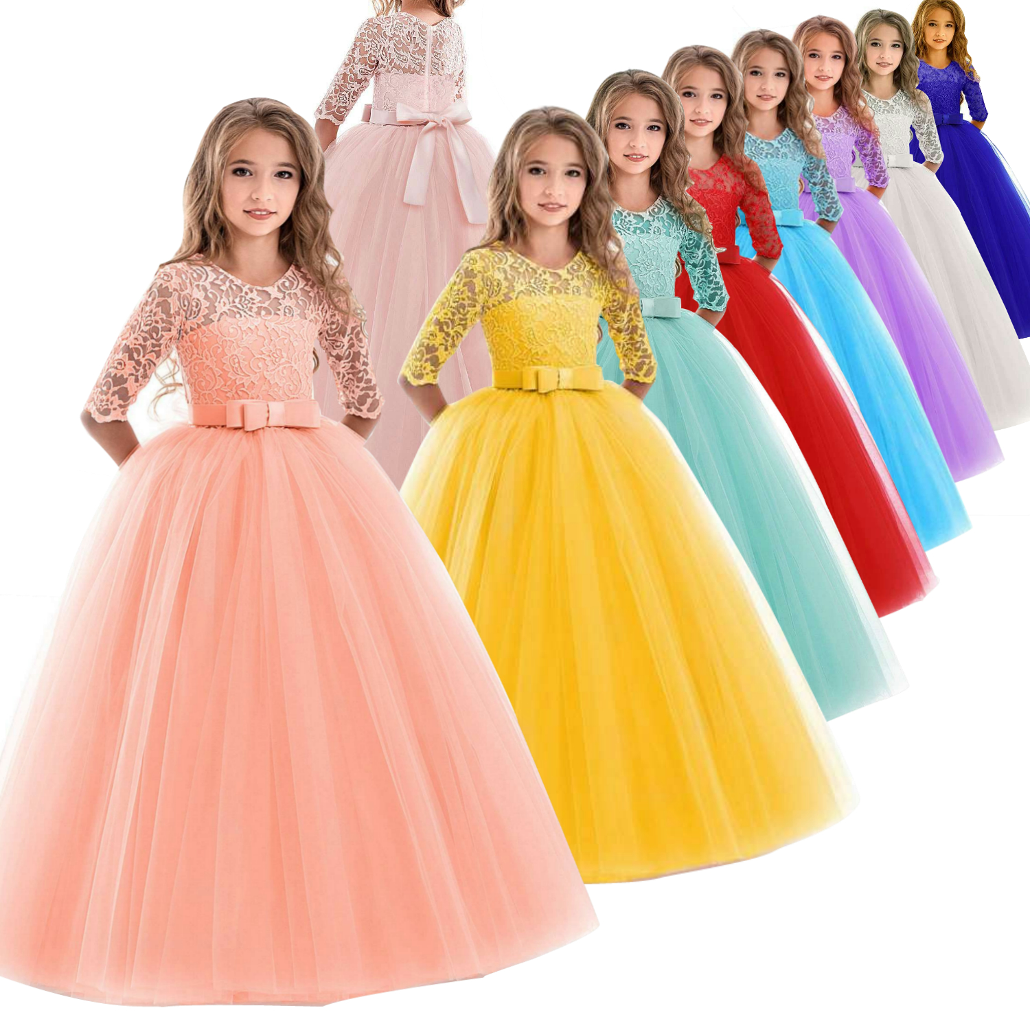Hot Sales 3-14 Years Kids Party Dresses 2019 New Design Long Sleeves Flower Girl Dress For Weddings Children Princess Ball Gowns