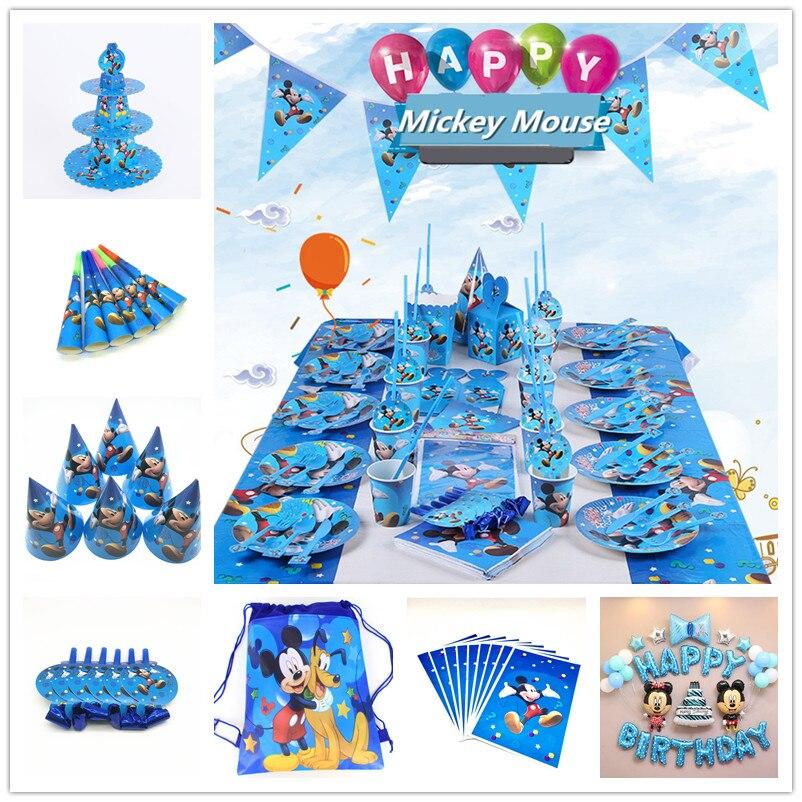 Дисней Микки Маус с героями мультфильмов, детский набор для дня рождения, вечерние чашки, тарелки для детского душа, одноразовые принадлежн...