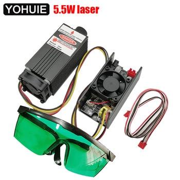 5500mw 5,5 w 450NM puede ajustar el enfoque azul púrpura módulo láser de madera de plástico grabado, pwm TTL tubo láser de control diodo + gafas