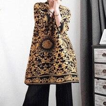 秋と冬の新製品ファッション高襟レトロプリント気質長袖ドレス女性 2019 PA597 [LANMREM]