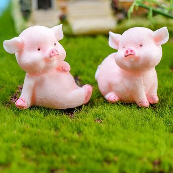 Desktop Resin Pig Model Figurine Sculpture DIY Craft Keychain Car Home Decor Cute shape design made your car or room more warm image