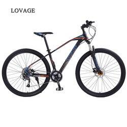Lobo fang mountain bike bicicleta 29 polegadas 27 velocidade da liga de alumínio quadro da bicicleta estrada primavera garfo dianteiro e traseiro da bicicleta mecânica