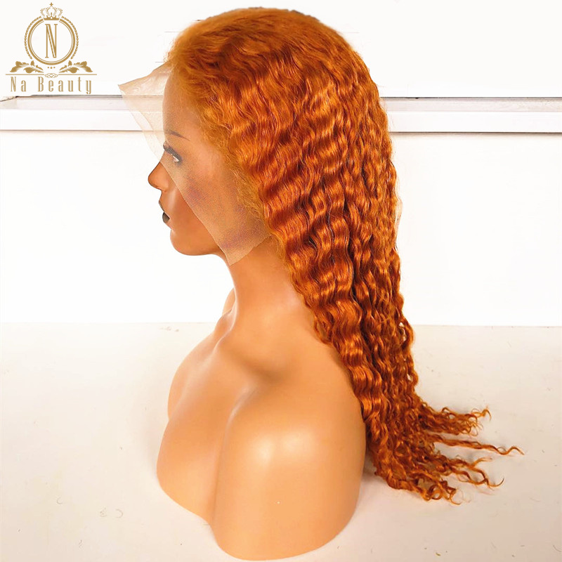 613 Blonde Orange Human Hair Full Lace Wigs Deep Wave Transparent Lace Honey Blonde Hair Wig Pre Plucked With Baby Hair Non Remy Na Beauty