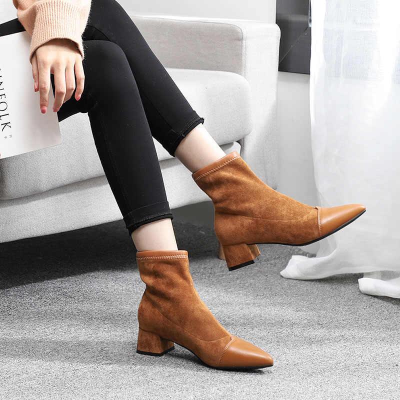 ผู้หญิงรองเท้าบูทข้อเท้าสั้นฝูง Pointed Toe สแควร์ส้นฤดูหนาวรองเท้าผู้หญิงบนผู้หญิง Martin Boots สีดำ botines muje