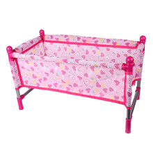 Baby Nursery Room Furniture Decor ABS Doll Crib Bed Kids Fun Play Toy Gift(China)
