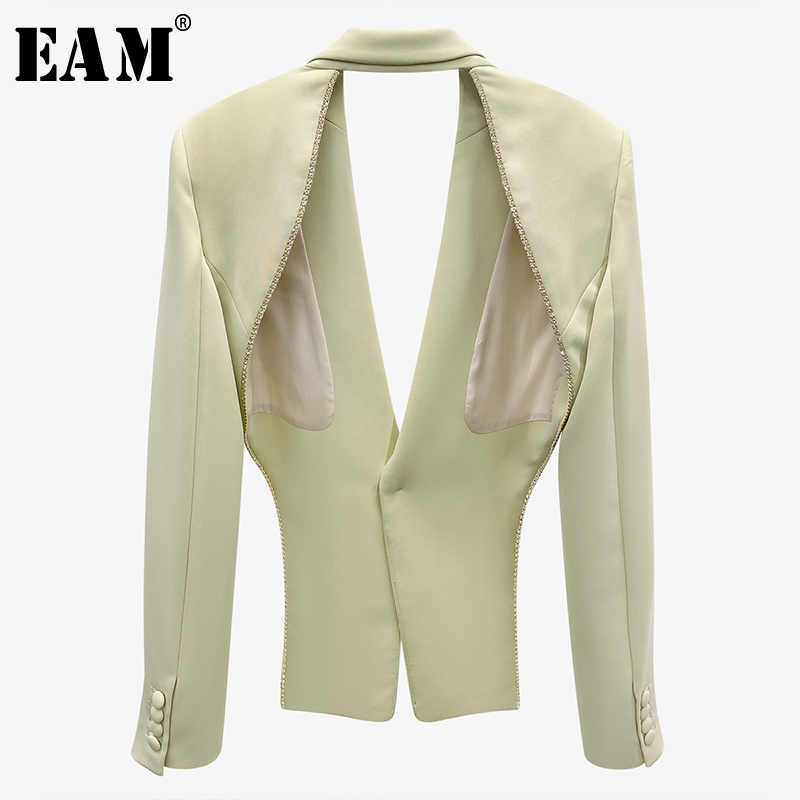 [EAM]  Women Green Rhinestones Hollow Out Blazer New Lapel Long Sleeve Loose Fit  Jacket Fashion Tide Spring Autumn 2021 1X897