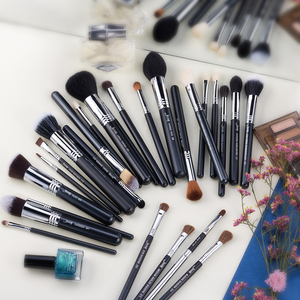 Image 5 - Jessup Juego de brochas de maquillaje profesional, base para sombra de ojos, lápices labiales en polvo, mezcla de pelo, herramienta cosmética de fibra, 7 27 Uds.