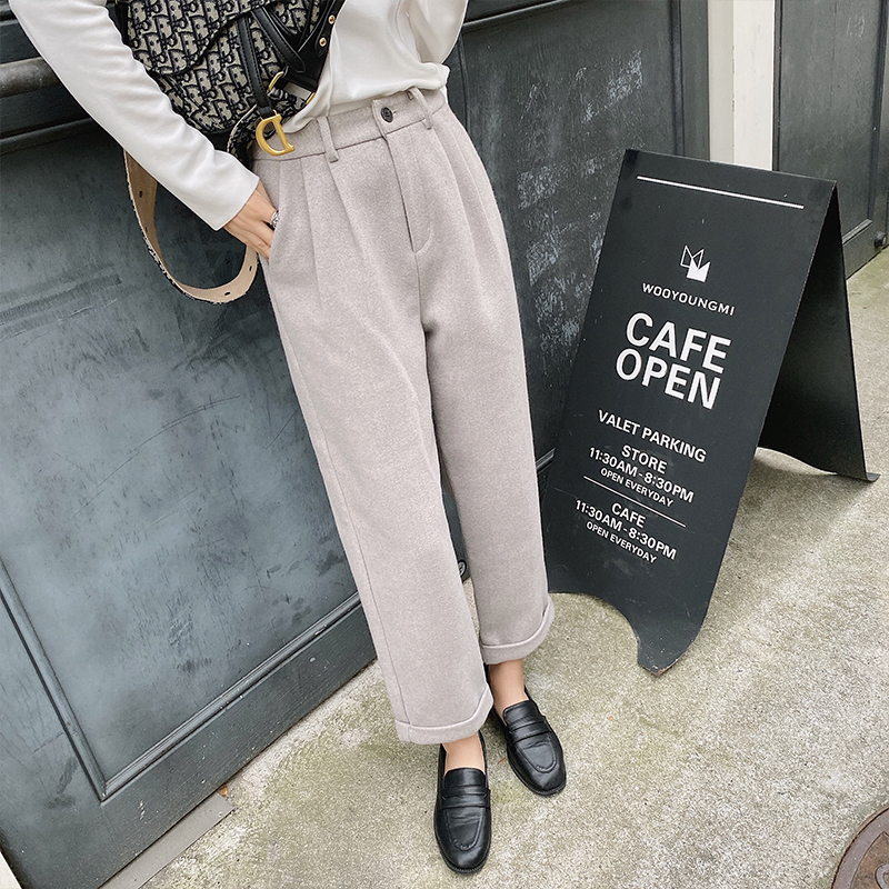 MISHOW Winter Causal Woolen Pants Women Solid Pleated Zipper Wide Leg Pants  MX19D2135