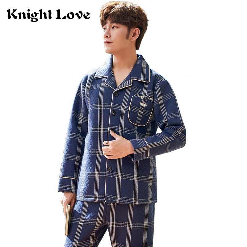 New Winter Thick Mens Sleepwear Long Sleeve 100% Cotton Plaid Men Pijama Blue Homewear Plus Size Men Pajama Sets For Male