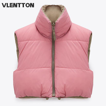 2021 Spring Autumn Women Sleeveless Jacket Coat Solid Zipper Double Sided Short Cotton Outerwear Casual Black Pink Tops Female 1