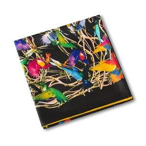 Image 5 - Châle carré en soie pour femmes, châle de marque de luxe, en sergé, grand motif doiseau, vente en gros, 2020*130, 130
