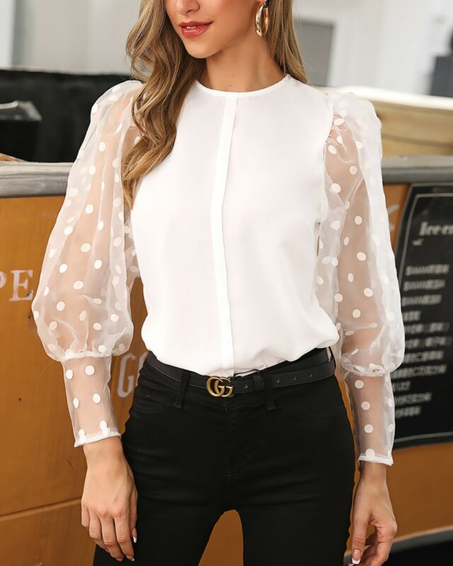 See-through Women Mesh Sheer Blouse Top Shirts O-neck Lace Puff Sleeve Tops Woman Summer Casual Office Blouses Female