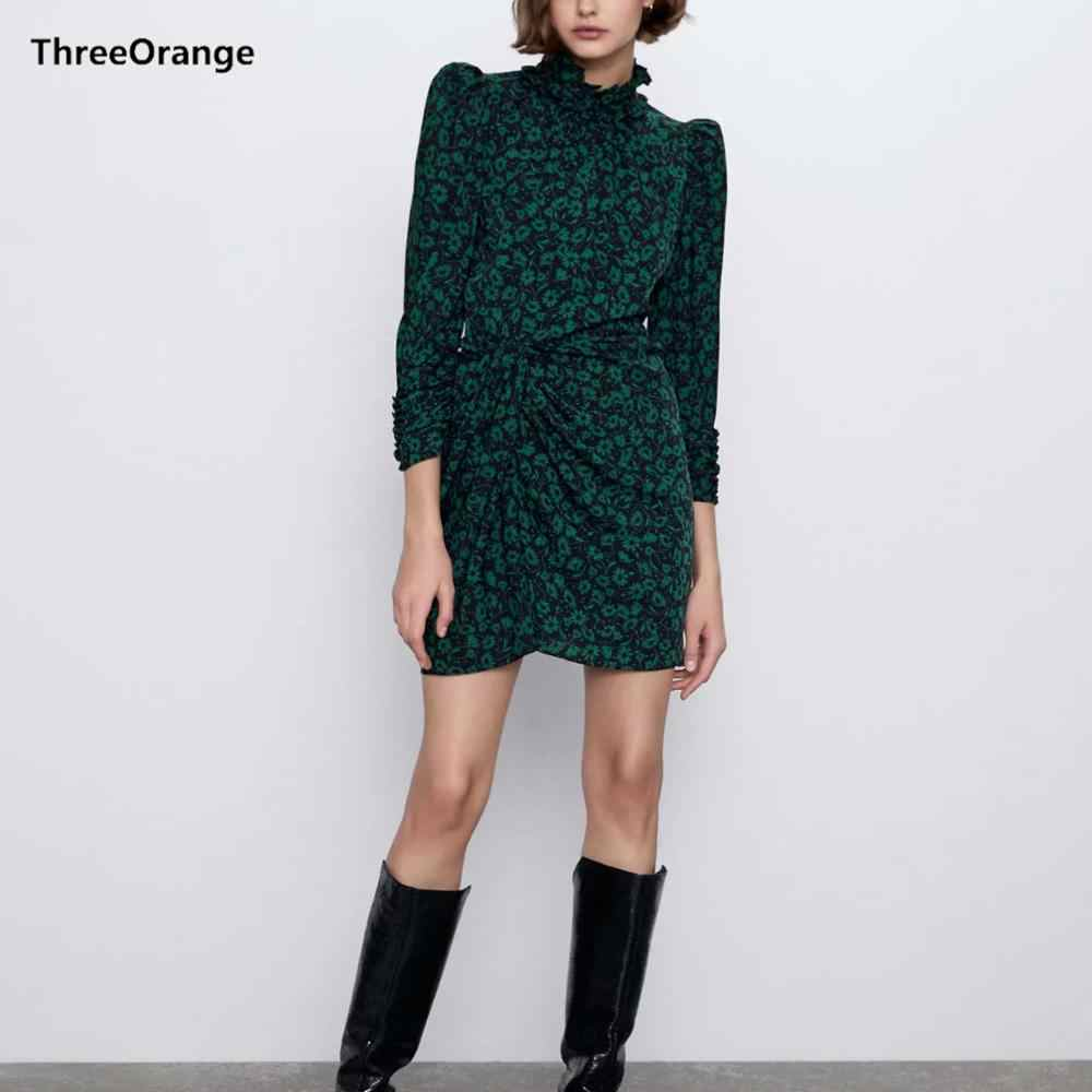 Za Vrouwen Jurk 2020 Groen Bloemenprint Bladerdeeg Mouw Ruches Coltrui Geplooide Chic Dames Slanke Elegante Vrouwelijke Jurk
