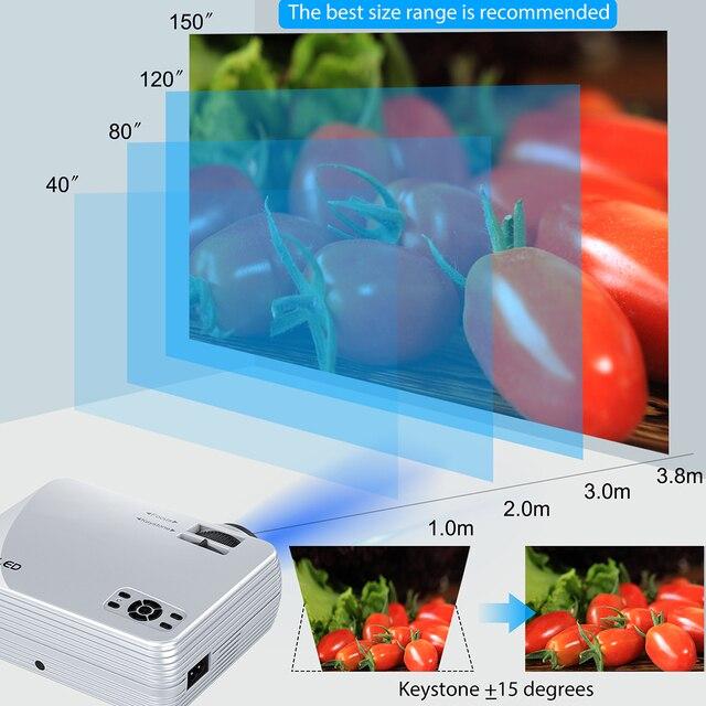 Potężny Mini projektor X5 + 1280*720P 2800 lumenów 1080P obsługuje 3D przenośny projektor podłączyć za pośrednictwem portu USB HDMI VGA z TV, pudełko PS4