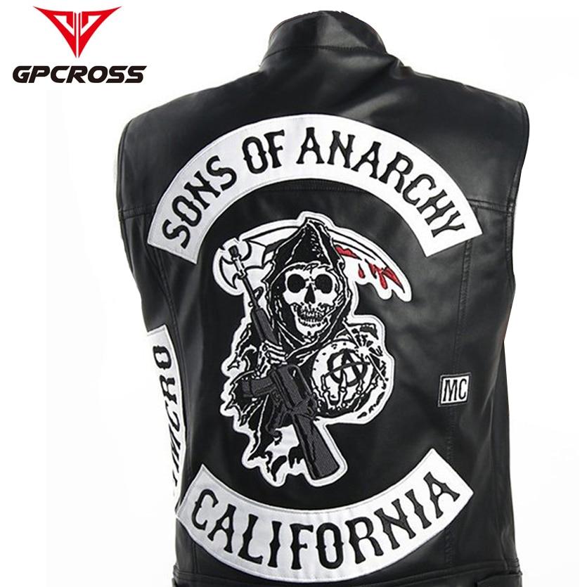 Men Motorcycle Spring Jackets SOA Punk Black Motorbike Gilet Sons Of Anarchy Leather Moto Jacket Vest
