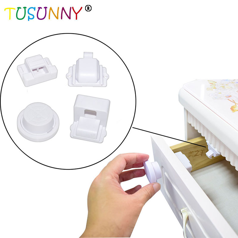 TUSUNNY 8+2/4+1PCS Magnetic Child Lock Safety Baby Magnetic Cabinet Locks,baby Products Lock