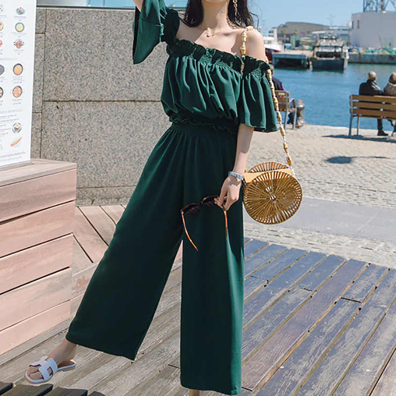 Heliar 2020 Summer Two Piece Outfits 여성용 어깨 보호대 Palazzo Playsuits Party Ruffle Strap 여성용 여름용 점프 슈트